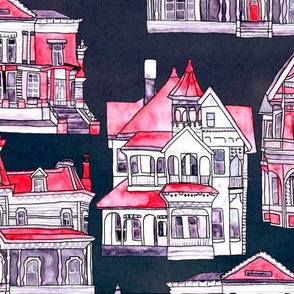 Red Toile Victorian Houses