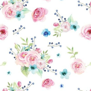 Floral Watercolor- Pink + Blue