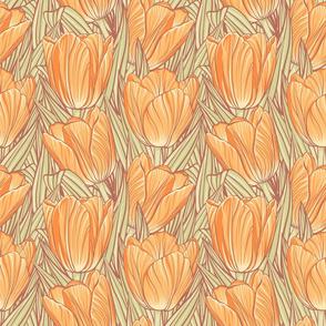 Orange Tulips Color Pencil