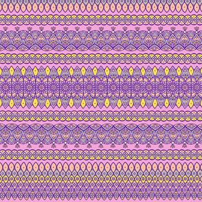 Decorative ornamental stripes on pink background