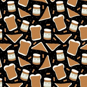 Peanut butter sandwich bread and jar cool food pop design black gender neutral