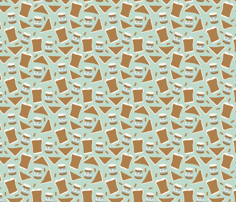 Peanut butter sandwich bread and jar cool food pop design mint gender neutral fabric by littlesmilemakers on Spoonflower - custom fabric