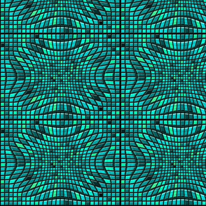Distorted Teal Mosaic Tiles