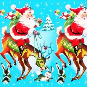merry Christmas Santa Claus Xmas snowflakes winter snow toys presents gifts bears balls trees mistletoe reindeer rabbits baubles vintage retro kitsch stars stars sparkles