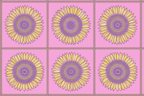 Yellow, violet and pink sunflowers in squares fabric by simut on Spoonflower - custom fabric