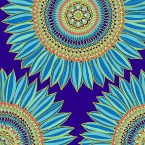 Mandala ornamental sunflower - blue, gold and red