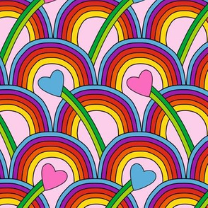 Hearts and Rainbows pink