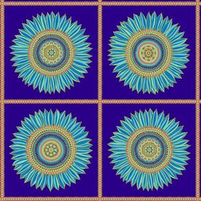 Sunflower mandala in squares - dark palette