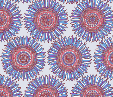 Ornamental sunflowers in blue, red and gray fabric by simut on Spoonflower - custom fabric