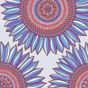 Ornamental sunflowers in blue, red and gray