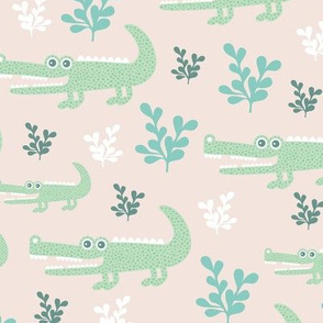 Sweet crocodile safari garden design kids pastel animals mint blue