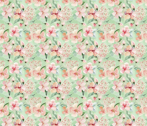 Sweet Watercolor Blush Roses on Green- small fabric by utart on Spoonflower - custom fabric