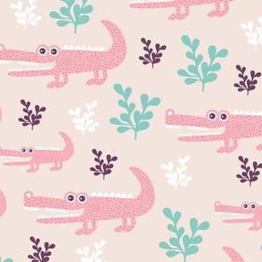 Sweet crocodile safari garden design kids pastel animals pink