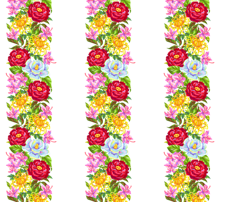 Chinese Flowers Stripe on White fabric by fabric_is_my_name on Spoonflower - custom fabric
