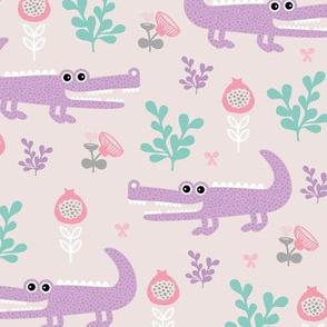 Sweet crocodile safari flower leaf garden design kids pastel animals pink lilac