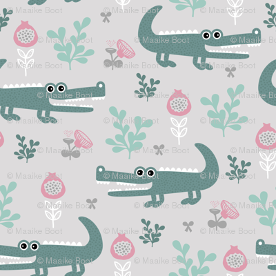 Sweet crocodile safari flower leaf garden design kids pastel animals blue