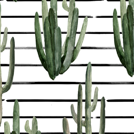 "12"" Western Watercolor Cactus // Black Stripes fabric by hipkiddesigns on Spoonflower - custom fabric"