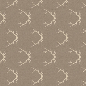 """4"""" Antlers - beige on taupe linen"""
