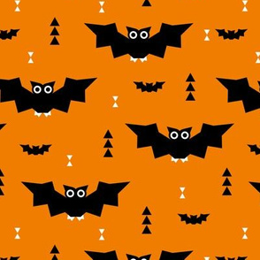Cute little baby bats geometric halloween horror print with triangles orange night