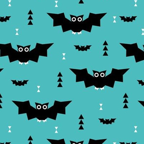 Cute little baby bats geometric halloween horror print with triangles blue night