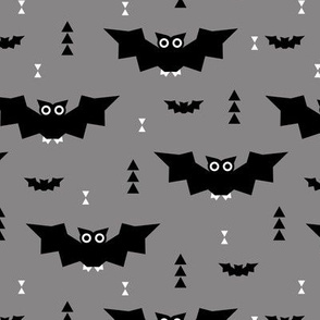Cute little baby bats geometric halloween horror print with triangles gray night