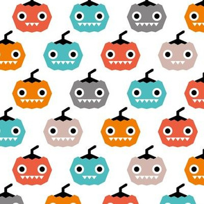 Cute geometric pumpkin love kawaii halloween design blue orange coral gender neutral