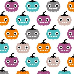 Cute geometric pumpkin love kawaii halloween design blue orange purple girls