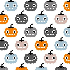 Cute geometric pumpkin love kawaii halloween design blue orange
