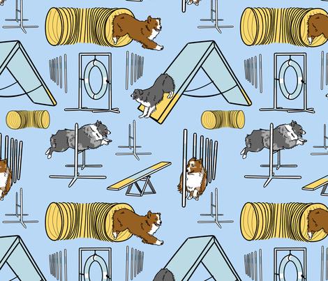 Simple bicolor Australian shepherd agility dogs - blue fabric by rusticcorgi on Spoonflower - custom fabric