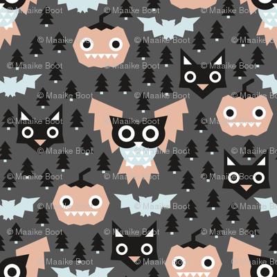 Pine tree forest horror night halloween animals owls black cat and pumpkin design blue coral gender neutral