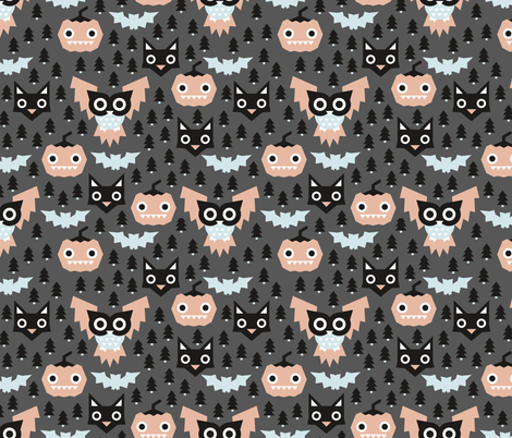 Pine tree forest horror night halloween animals owls black cat and pumpkin design blue coral gender neutral fabric by littlesmilemakers on Spoonflower - custom fabric