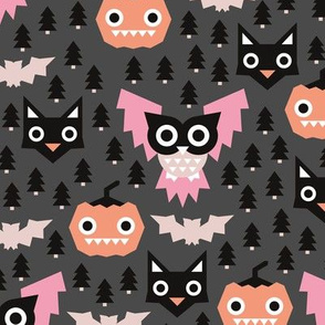 Pine tree forest horror night halloween animals owls black cat and pumpkin design pink girls