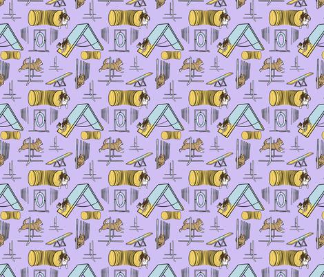 Simple tan long coated Chihuahua agility dogs small - purple fabric by rusticcorgi on Spoonflower - custom fabric