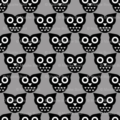 Cool geometric kawaii autumn winter owls retro gray
