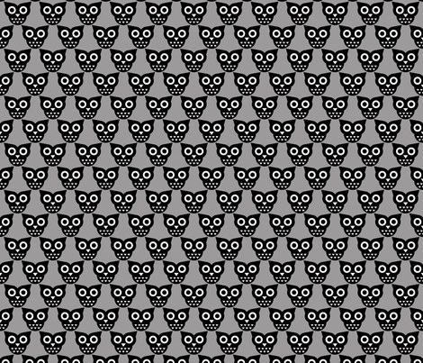 Cool geometric kawaii autumn winter owls retro gray fabric by littlesmilemakers on Spoonflower - custom fabric