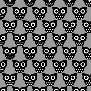 Cool geometric kawaii autumn winter owls retro gray