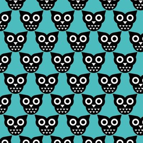 Cool geometric kawaii autumn winter owls retro blue