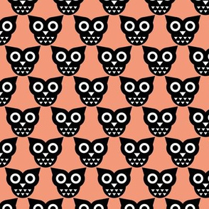Cool geometric kawaii autumn winter owls retro peach