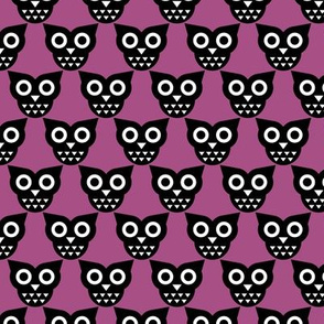 Cool geometric kawaii autumn winter owls retro purple