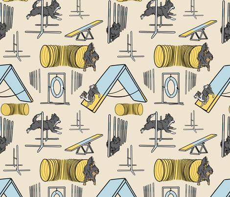 Simple black long coated Chihuahua agility dogs - tan fabric by rusticcorgi on Spoonflower - custom fabric