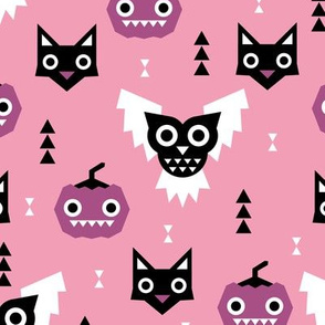 Sweet kawaii fall halloween animals pumpkins owls and cats geometric kids design pink purple