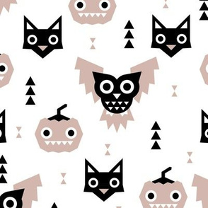 Sweet kawaii halloween animals pumpkins owls and cats geometric kids design beige black and white