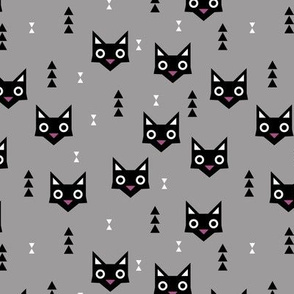 Black cat kawaii geometric kitten love halloween cats gray purple