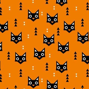 Black cat kawaii geometric kitten love halloween cats orange
