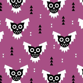 Cool geometric kawaii autumn winter halloween horror owls triangles purple