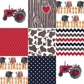 Farm//Love you till the cows come home//Hereford/Angus//Red Navy - Wholecloth Cheater Quilt