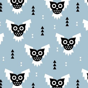 Cool geometric kawaii winter halloween horror owls triangles blue