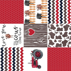 Farm//Love you till the cows come home//Hereford/Angus/Red/Navy - Wholecloth Cheater Quilt - Rotated