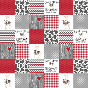 3 inch Farm//Love you till the cows come home//Red - Wholecloth Cheater Quilt