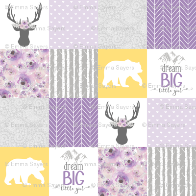 Dream Big Little Girl//Purple//Yellow - Wholecloth Cheater Quilt